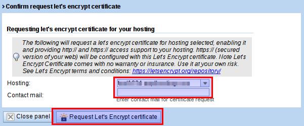 Let's encrypt details dialog